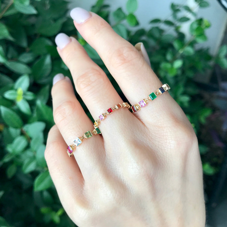 Rainbow Stones Chain Ring