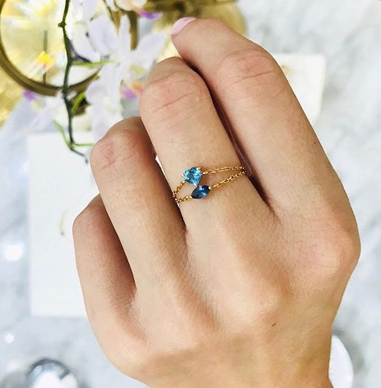 Blue Topaz Heart Chain Ring