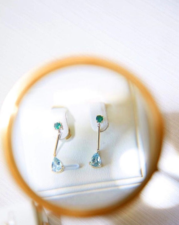 Tsavorite & Aquamarine Raindrop Earrings