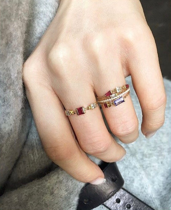 Tanzanite & Ruby Chain Ring