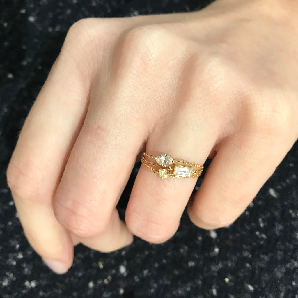 Diamond large baguette chain ring