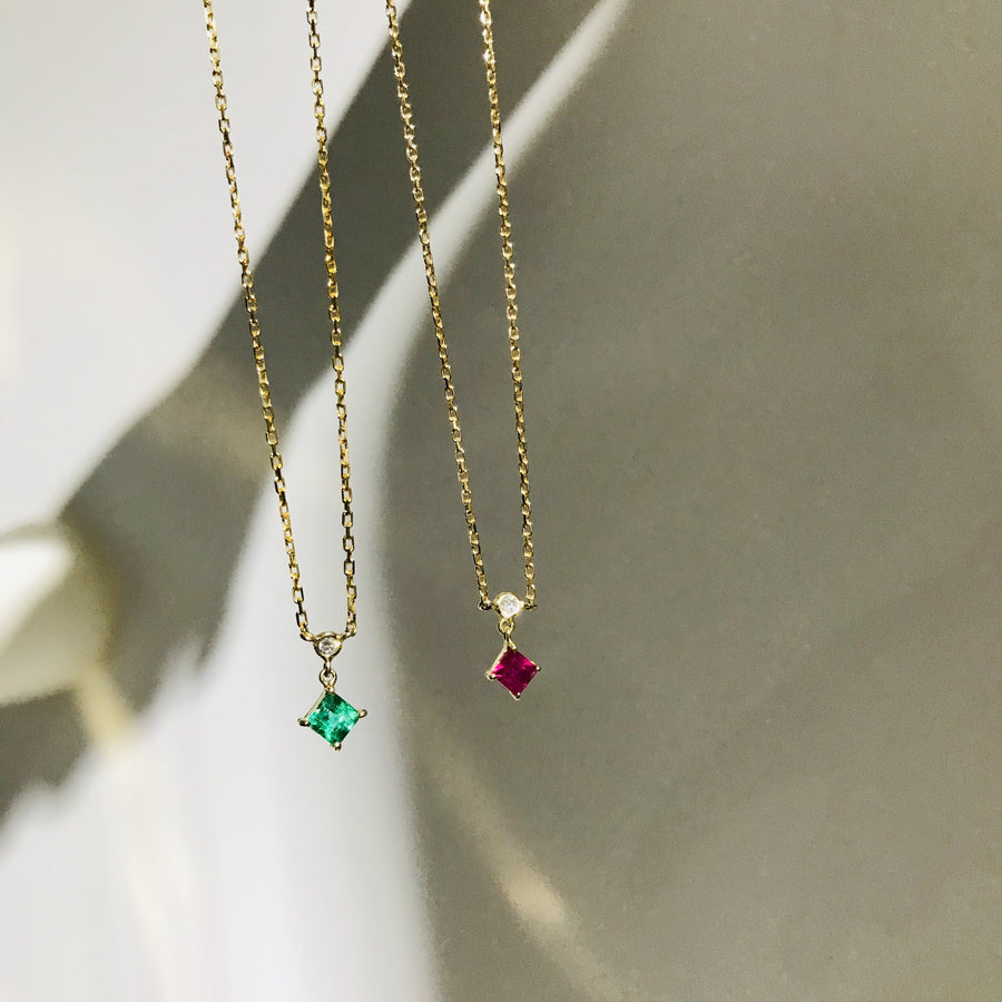 EMERALD & DIAMOND WHISPERS NECKLACE