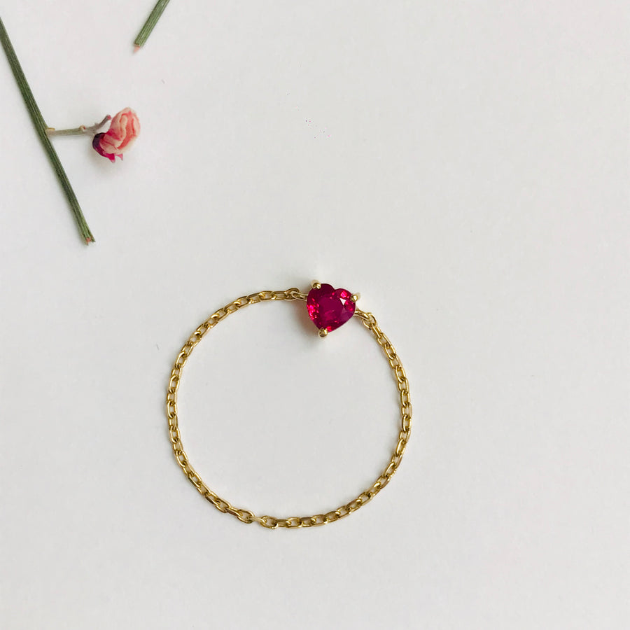 Ruby Heart Chain Ring