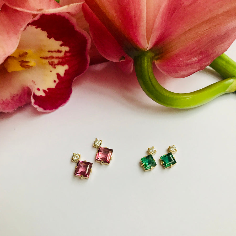 Green Tourmaline & Diamond Sanya Earrings