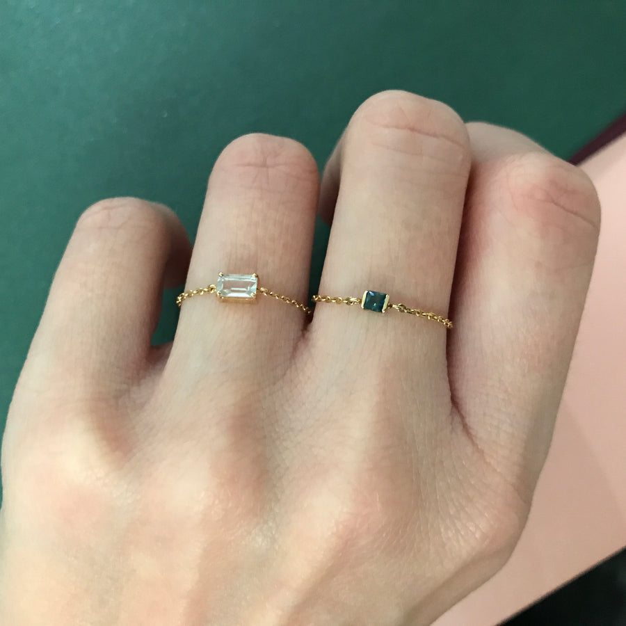 White Topaz Chain Ring