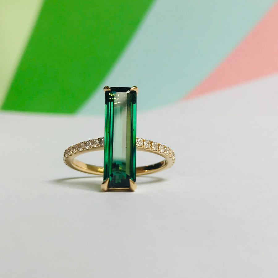 Green Tourmaline & Diamond Bar Ring