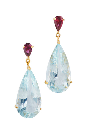 Ruby & Aquamarine dewdrop Earrings