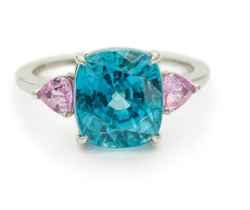 Zircon Oceans Ring With Pink Sapphire