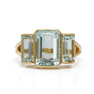 Aquamarine Tonal Deco Supreme Ring