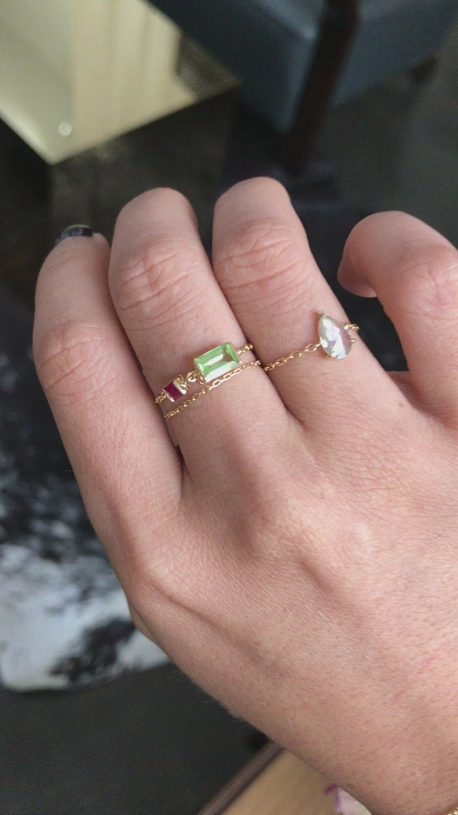 Peridot & Ruby Chain Ring