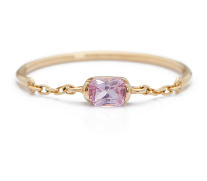 Pink Sapphire Half Chain Ring