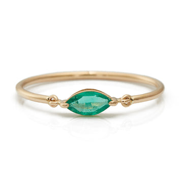 Emerald Marquise Petite Circle Ring