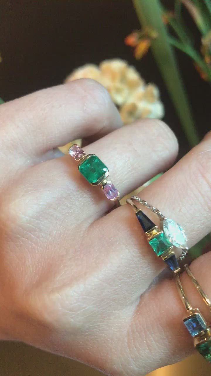Emerald & Pink Sapphire Triplet Ring
