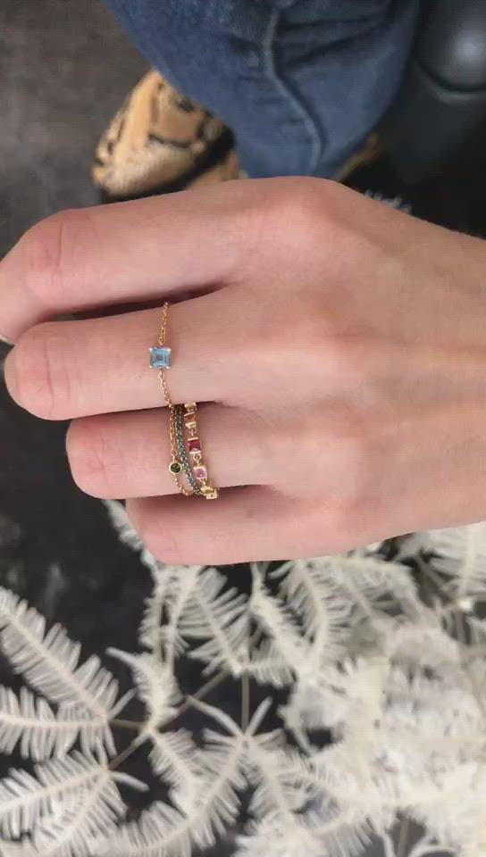 Aquamarine Chain Ring