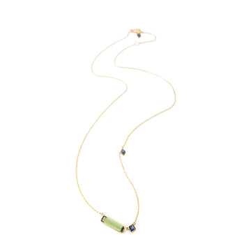 Green Tourmaline & Sapphire Bar Necklace