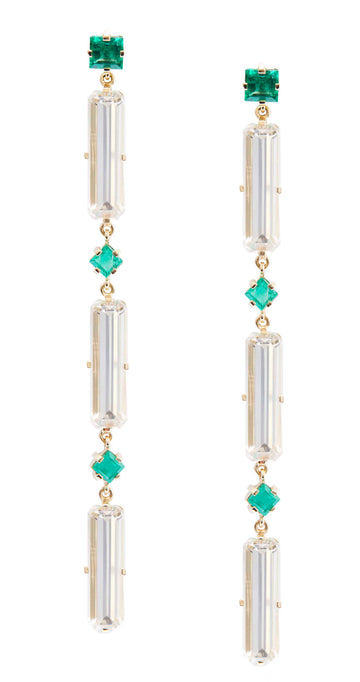 Emerald & White Topaz Cascade Earrings