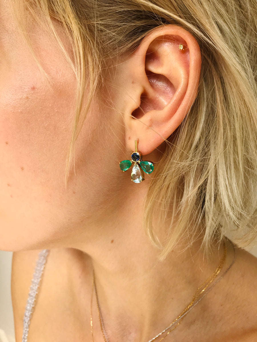 Emerald, Aquamarine & Blue Sapphire Fauna Earrings