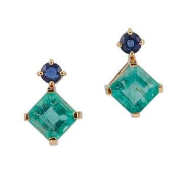 Emerald & Sapphire Geometry Earrings