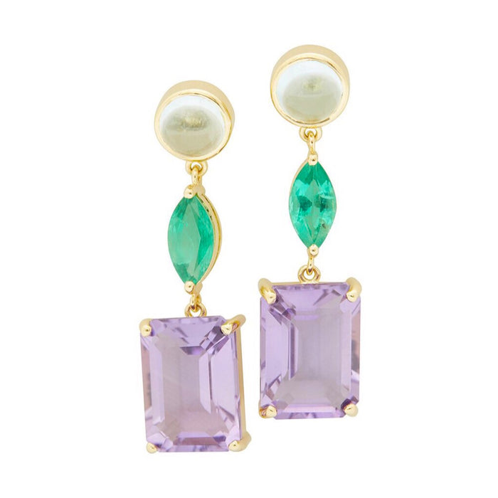 Topaz, Emerald & Amethyst Beijing Nights Earrings