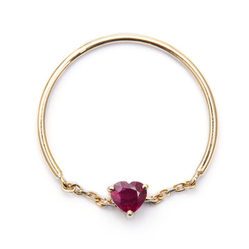 Ruby Heart Half Chain Ring