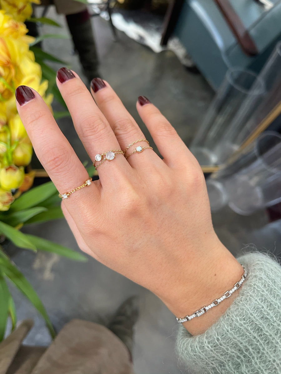 White ice Jade Chain Ring