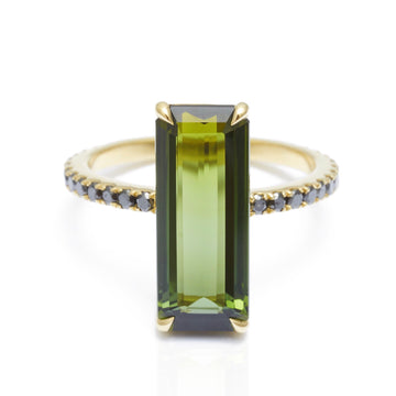 Green Tourmaline & Black Diamond Supreme Deco Ring
