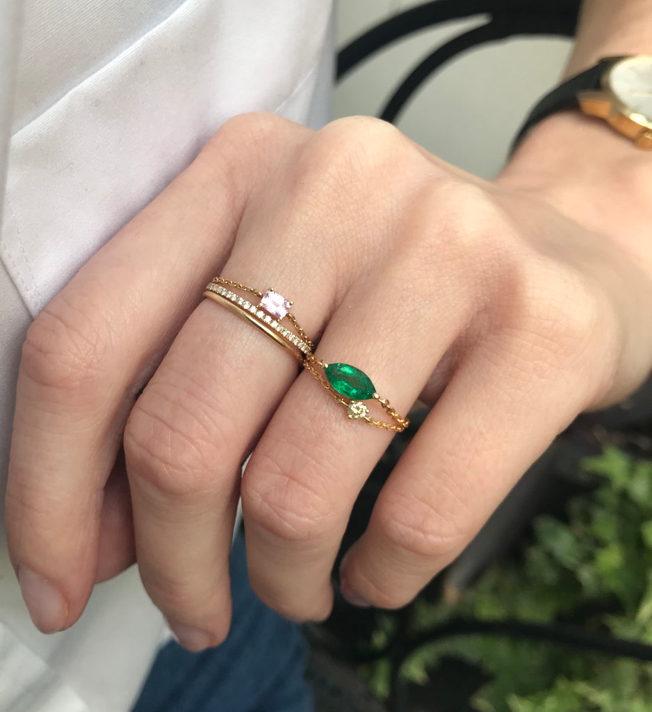 Emerald Large Marquise Chain Ring
