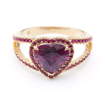 Rhodolite & Ruby Love Ring