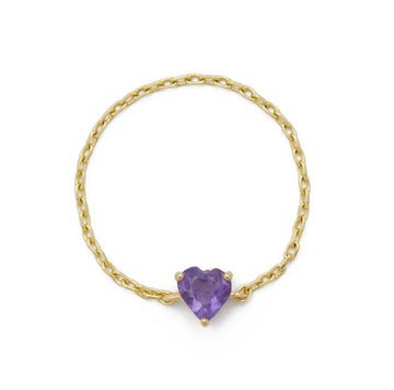 Purple AMETHYST HEART CHAIN RING