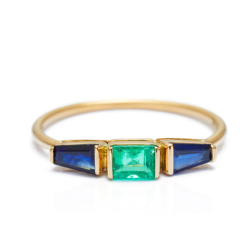 Blue Sapphire & Emerald Triplet Ring