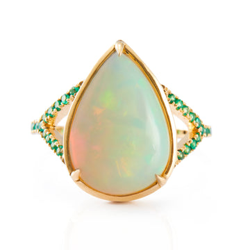 Opal & Emerald Dewdrop Ring
