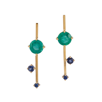 Emerald & Sapphire Sticks Earrings