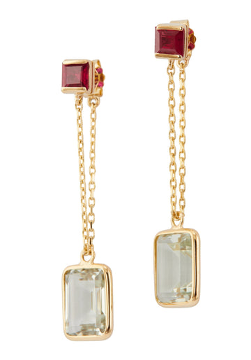 Ruby & Green Amethyst Chain Earrings
