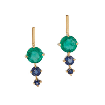 Emerald & Sapphire Dot Earrings