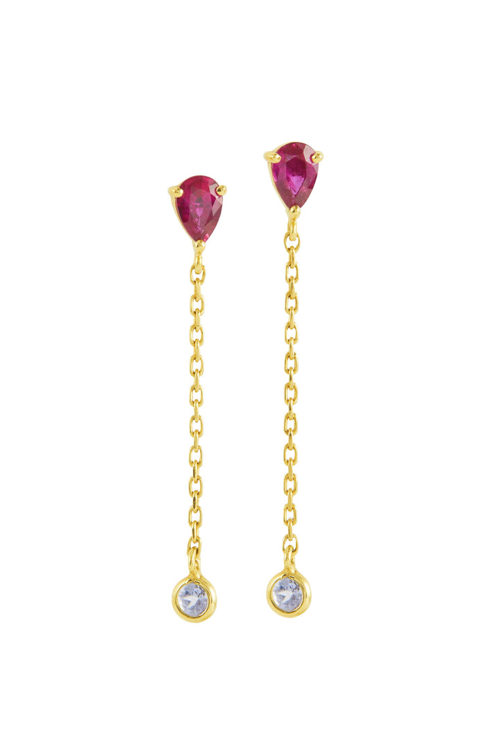 RUBY & AQUAMARINE CHAIN EARRINGS