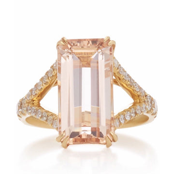 Morganite & Diamond Crown Ring