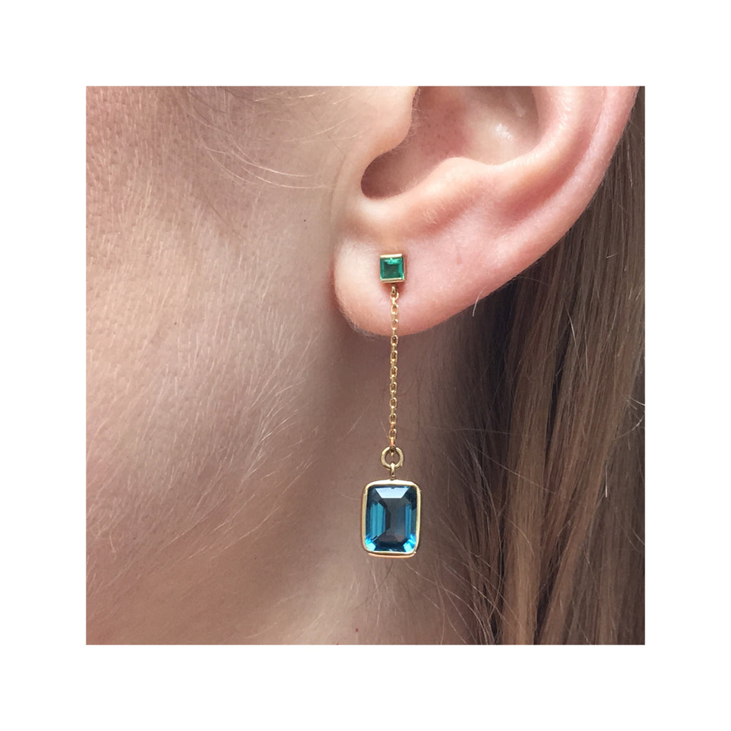 Emerald & Topaz Earrings