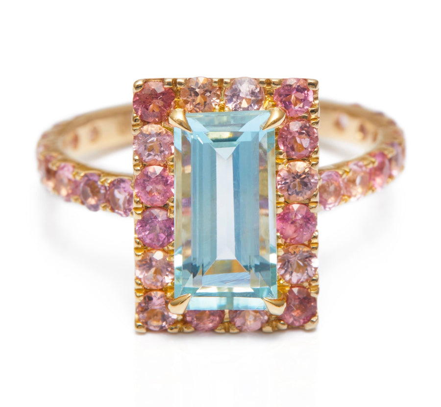 Aquamarine & Pink Tourmaline Candy Ring