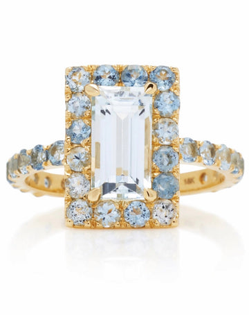 Aquamarine Tonal Deco Ring