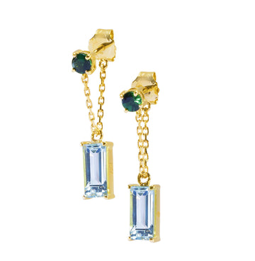 Tsavorite & Aquamarine Chain Earrings