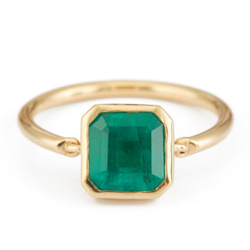 Emerald Supreme Button Ring