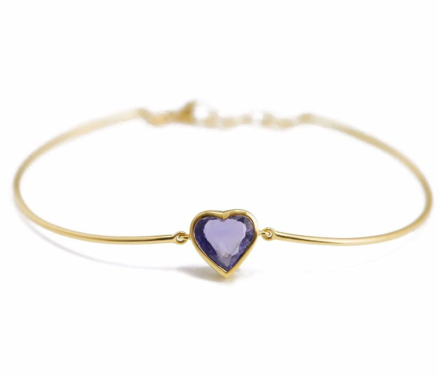 Purple Sapphire Heart Bangle