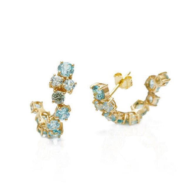 Blue Zircon Cluster Hoop Earrings