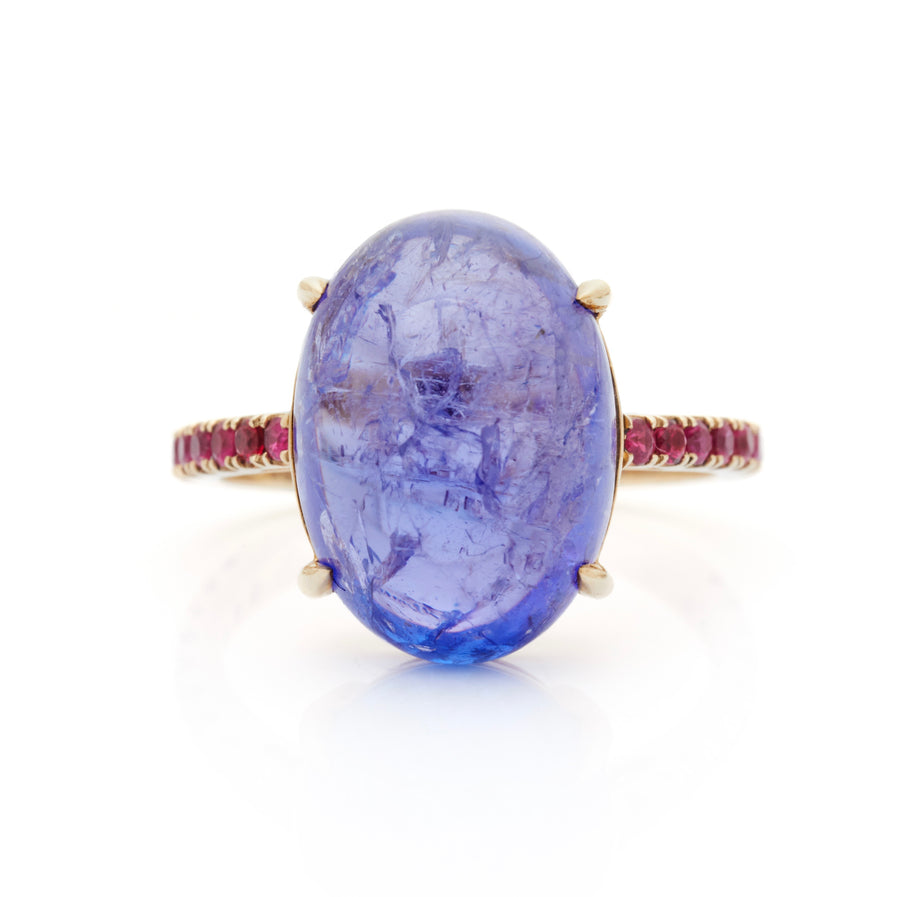 Tanzanite & Ruby globe Ring