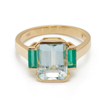 Aquamarine & Emerald Tonal Deco Ring
