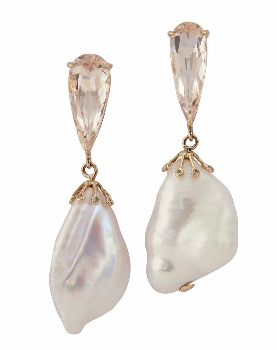 Morganite & Baroque Pearl Earrings