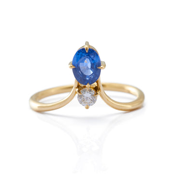 Blue Sapphire & Diamond Crown Ring