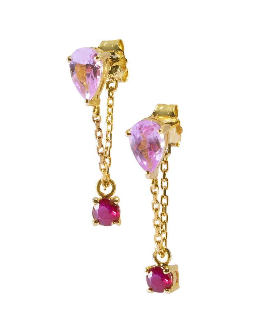 Pink Topaz & ruby  chain earrings