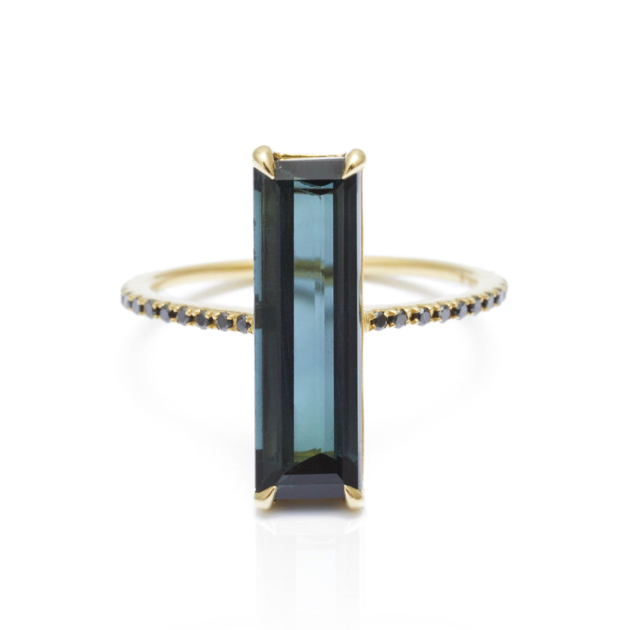 Indicolite & Black Diamond Ring