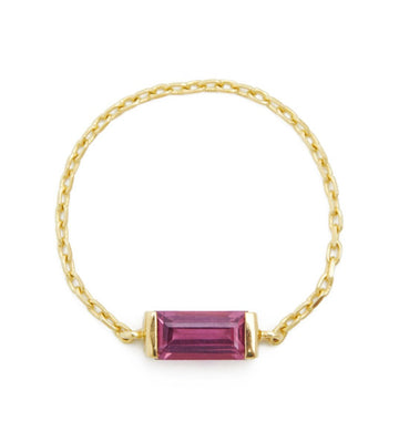 Pink Tourmaline Baguette Chain Ring